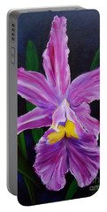 Portable Battery Charger featuring the painting Purple Orchid by Jenny Lee