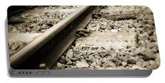 Railway Tracks Portable Battery Charger by Les Cunliffe
