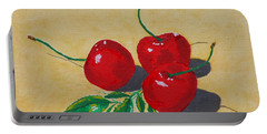 Portable Battery Charger featuring the painting Red Cherries by Johanna Bruwer