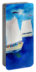 2 Sailboats Portable Battery Charger by Carlin Blahnik