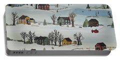 Portable Battery Charger featuring the painting Snow Day by Virginia Coyle