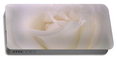 Softness Of A White Rose Flower Portable Battery Charger