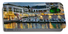 Spetses Town During Dusk Time Portable Battery Charger
