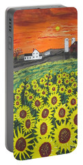 Portable Battery Charger featuring the painting Sunflower Valley Farm by Jeffrey Koss