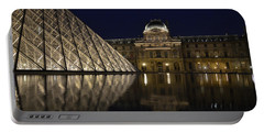The Louvre Palace And The Pyramid At Night Portable Battery Charger by RicardMN Photography