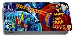 Portable Battery Charger featuring the painting Then Came Love by Jackie Carpenter