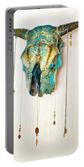 Turquoise And Gold Illuminating Steer Skull Portable Battery Charger
