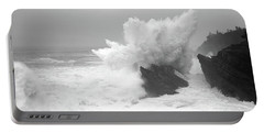 Waves Breaking On The Coast, Shore Portable Battery Charger
