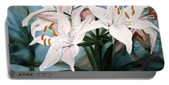 White Lilies Portable Battery Charger by Laurie Rohner