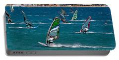 Windsurfing In Vasiliki Bay Portable Battery Charger