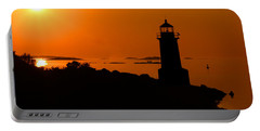 Winter Island Lighthouse Sunrise Portable Battery Charger