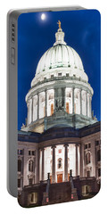 Wisconsin State Capitol Building At Night Portable Battery Charger