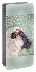 Wishing Ewe A White Christmas Portable Battery Charger by Angela Davies