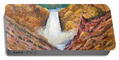 Portable Battery Charger featuring the painting Yellowstone Falls by Lou Ann Bagnall
