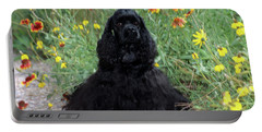 2000s Black Cocker Spaniel Puppy Dog Portable Battery Charger
