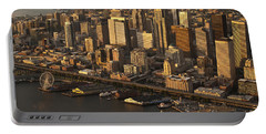 Aerial View Of Seattle Skyline Along Waterfront Portable Battery Charger