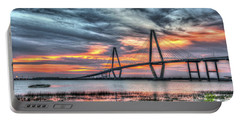 Arthur Ravenel Bridge Stormy Skies Portable Battery Charger