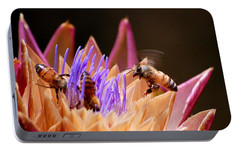 Portable Battery Charger featuring the photograph Bees In The Artichoke by AJ  Schibig