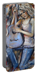 Portable Battery Charger featuring the painting Blue Guitar 010709 by Selena Boron