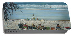 Portable Battery Charger featuring the painting Burleigh Beach 220909 by Selena Boron