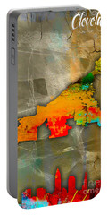 Cleveland Map And Skyline Watercolor Portable Battery Charger