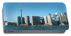 Cn Tower Toronto View From Centre Island Downtown Panorama Improvised With Graphic Artist Tools Pain Portable Battery Charger