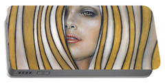 Portable Battery Charger featuring the painting Golden Dream 060809 by Selena Boron