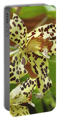 Leopard Orchids Portable Battery Charger by Ellen Henneke