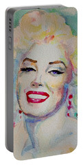 Portable Battery Charger featuring the painting Marilyn by Laur Iduc