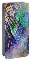 Praying Hands Flowers And Cross Portable Battery Charger