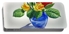 Portable Battery Charger featuring the painting Roses by Irina Sztukowski