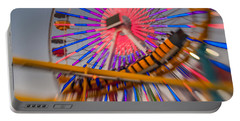 Santa Monica Pier Ferris Wheel And Roller Coaster At Dusk Portable Battery Charger