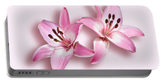 Spray Of Pink Lilies Portable Battery Charger