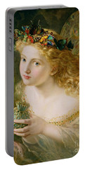 Take The Fair Face Of Woman Portable Battery Charger by Sophie Anderson