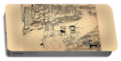 Portable Battery Charger featuring the drawing Tammy  Meets Cedric The Mongoose by Reynold Jay