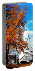 Portable Battery Charger featuring the photograph The Little White Church by Dora Sofia Caputo Photographic Art and Design