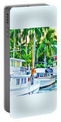 Portable Battery Charger featuring the painting Two Boats by Deborah Boyd