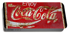 Coca Cola Vintage Rusty Sign Black Border Portable Battery Charger