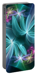 Portable Battery Charger featuring the digital art Ethereal Flowers by Svetlana Nikolova