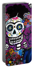 Portable Battery Charger featuring the painting Frida Dia De Los Muertos by Pristine Cartera Turkus