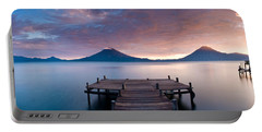 Jetty In A Lake With A Mountain Range Portable Battery Charger