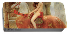 Portable Battery Charger featuring the painting Lady Godiva by John Collier