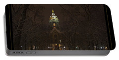 Notre Dame Golden Dome Snow Poster Portable Battery Charger