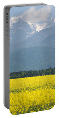 rapeseed field in Brnik with Kamnik Alps in the background Portable Battery Charger