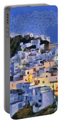 Serifos Town During Dusk Time Portable Battery Charger