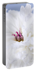 White Peony Flower Portable Battery Charger