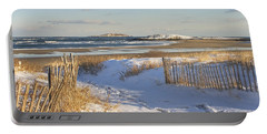 Winter At Popham Beach State Park Maine Portable Battery Charger