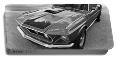 428 Cobra Jet Mach1 Ford Mustang 1969 In Black And White Portable Battery Charger