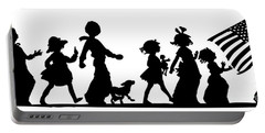 Portable Battery Charger featuring the digital art 4th Of July Childrens Parade Panorama by Rose Santuci-Sofranko