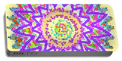 Sparkle Signature Art Chakra Round Mandala By Navinjoshi At Fineartamerica.com Rare Fineart Images  Portable Battery Charger by Navin Joshi